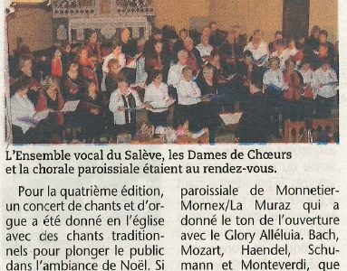 chants traditionnels au menu du concert de Noël